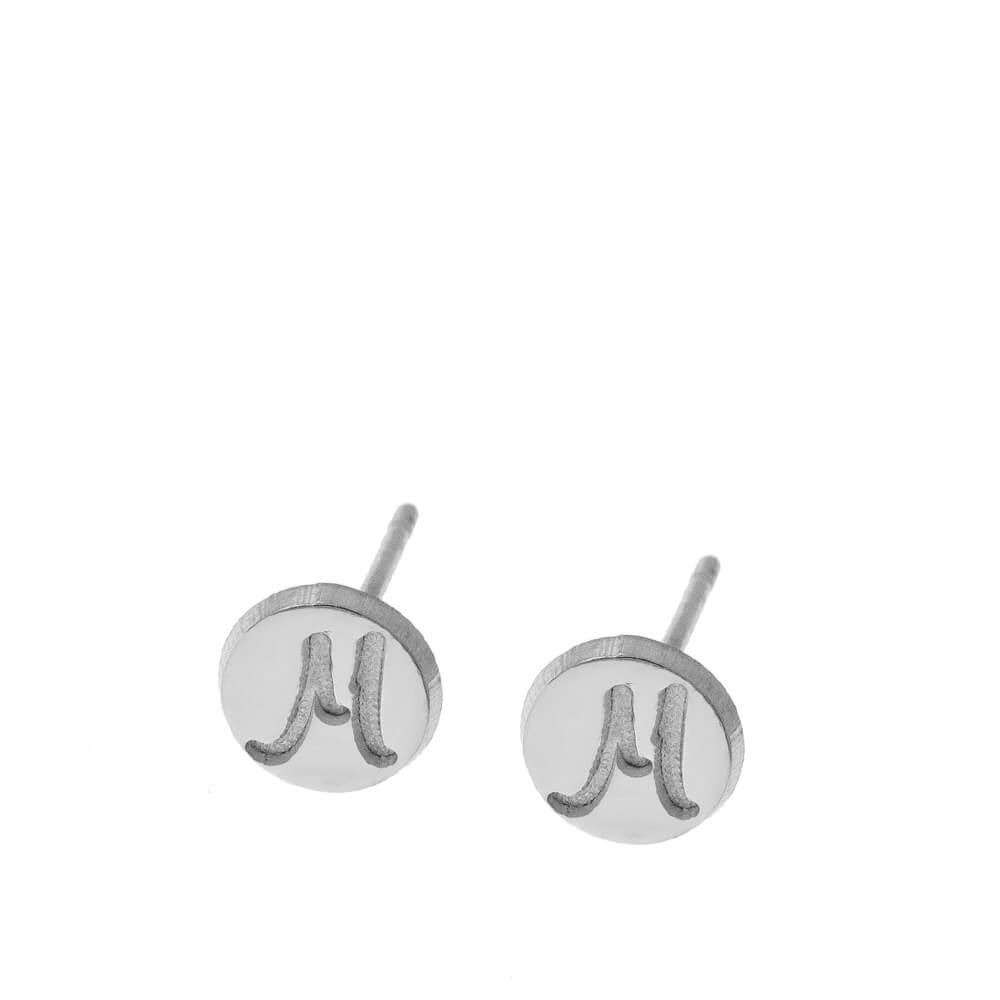 Disco Stud Aretes With Iniciales silver