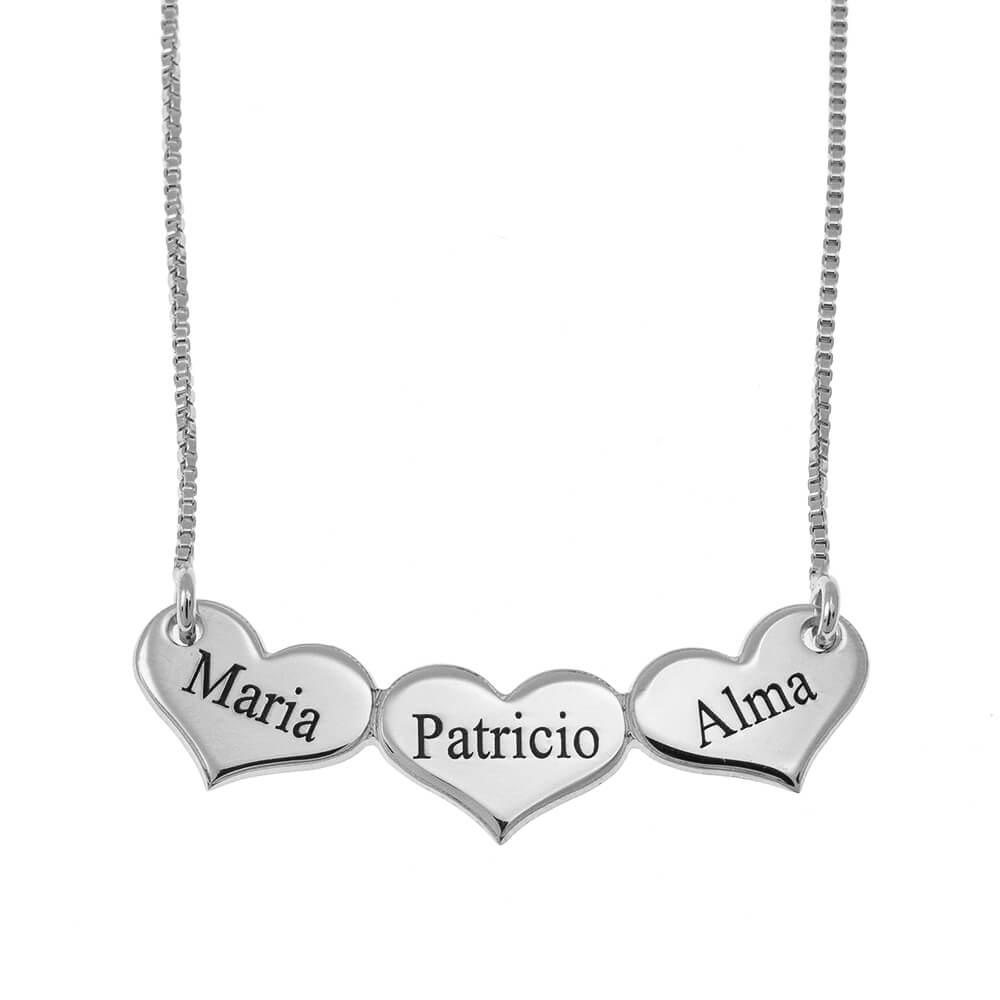 Engraved Horizontal CORAZONES Collar silver