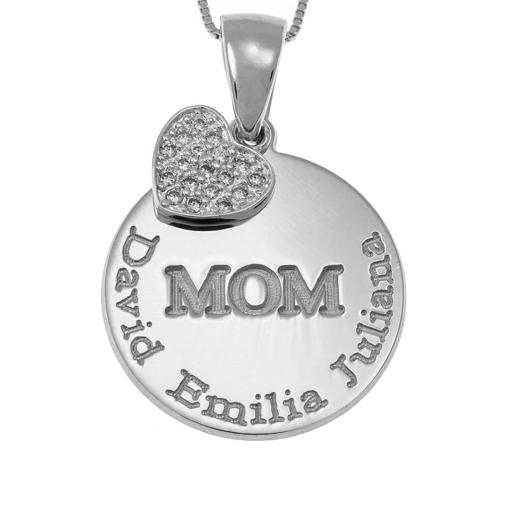 Engraved Mom Disco Collar With Inlay Corazón silver
