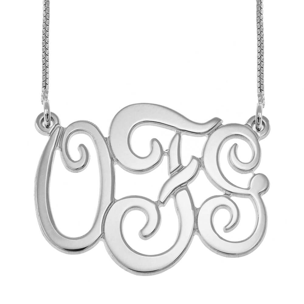 Monogram Three Iniciales Collar silver