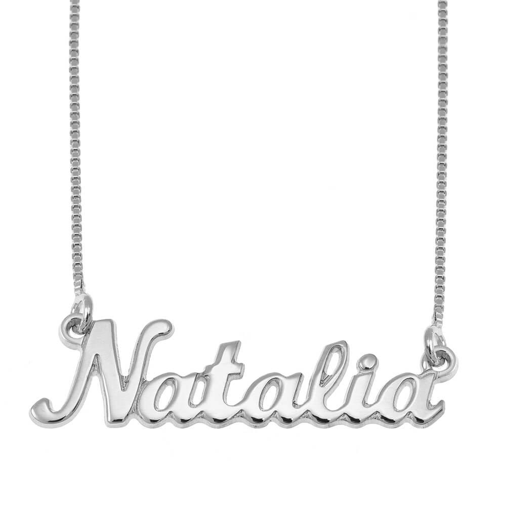 Clásico Nombre Collar silver