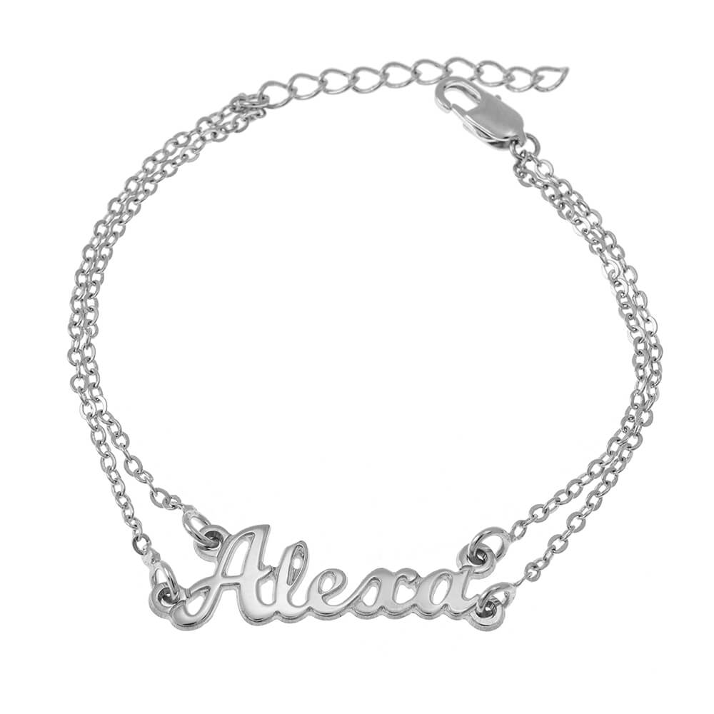 Cut Out Nombre Double Chain Pulsera silver