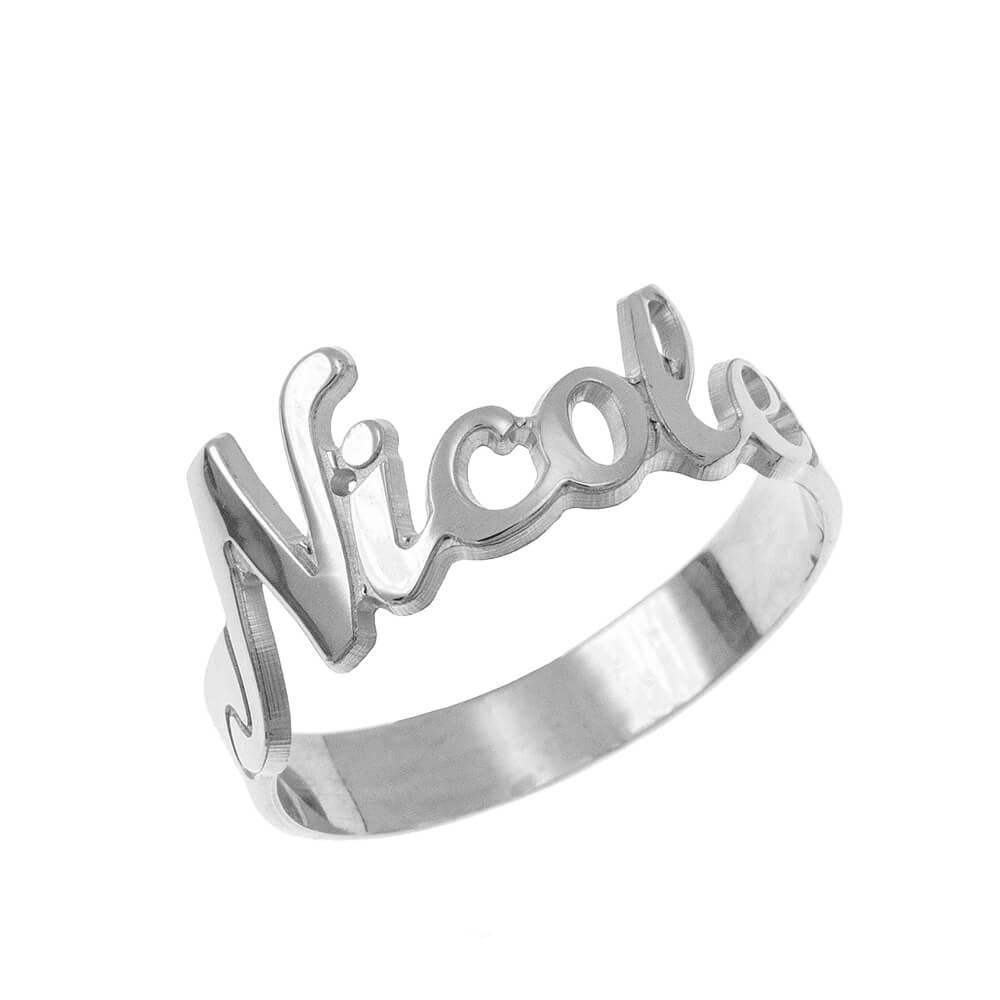 Cut out Nombre Ring silver