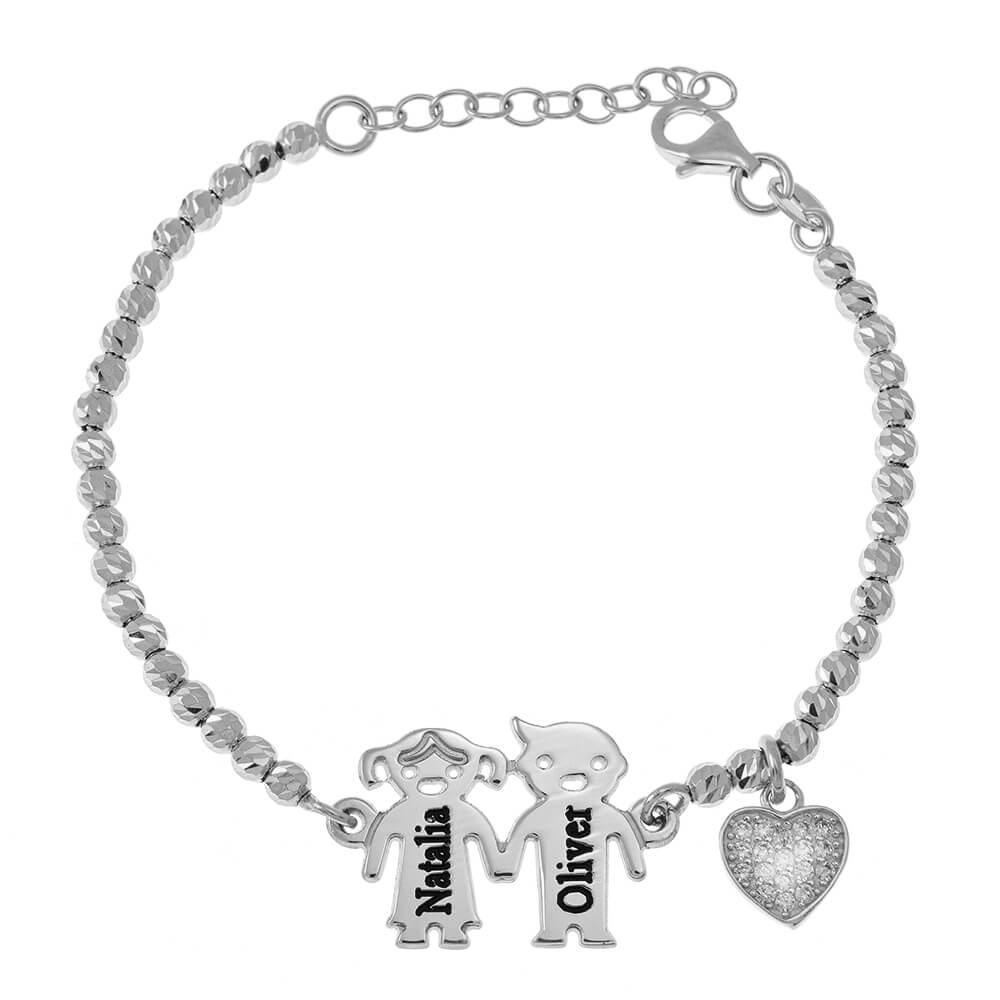 Engraved Children Bead Pulsera With Inlay Corazón silver