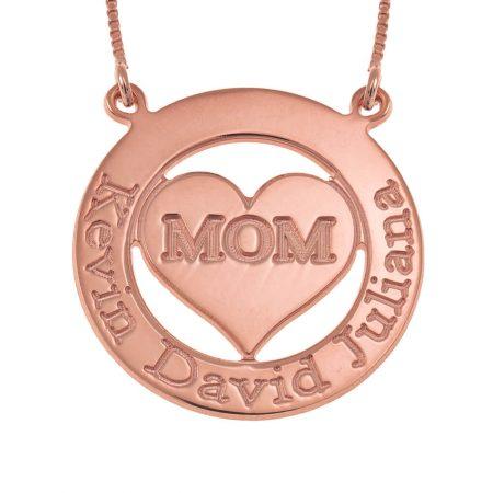 Collar para mamá con círculo y corazón grabado