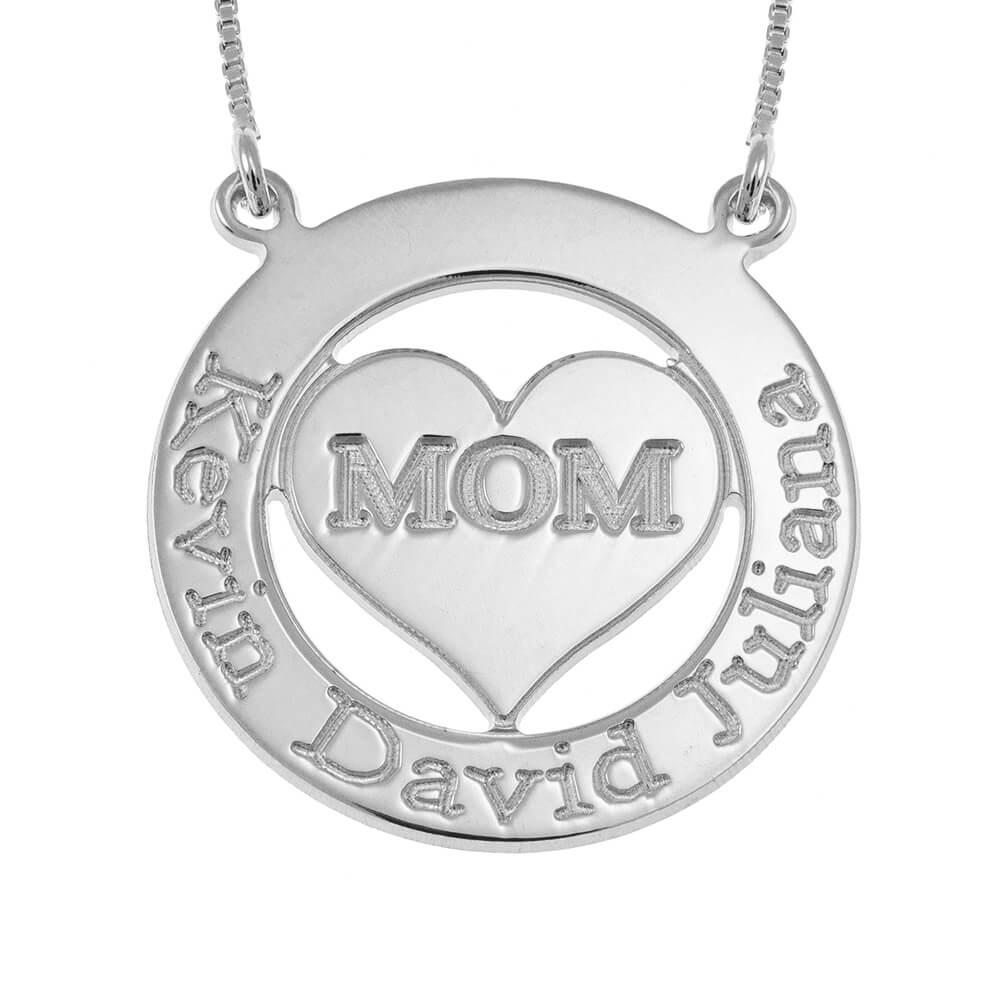 Engraved Circle Mom Collar with Corazón silver