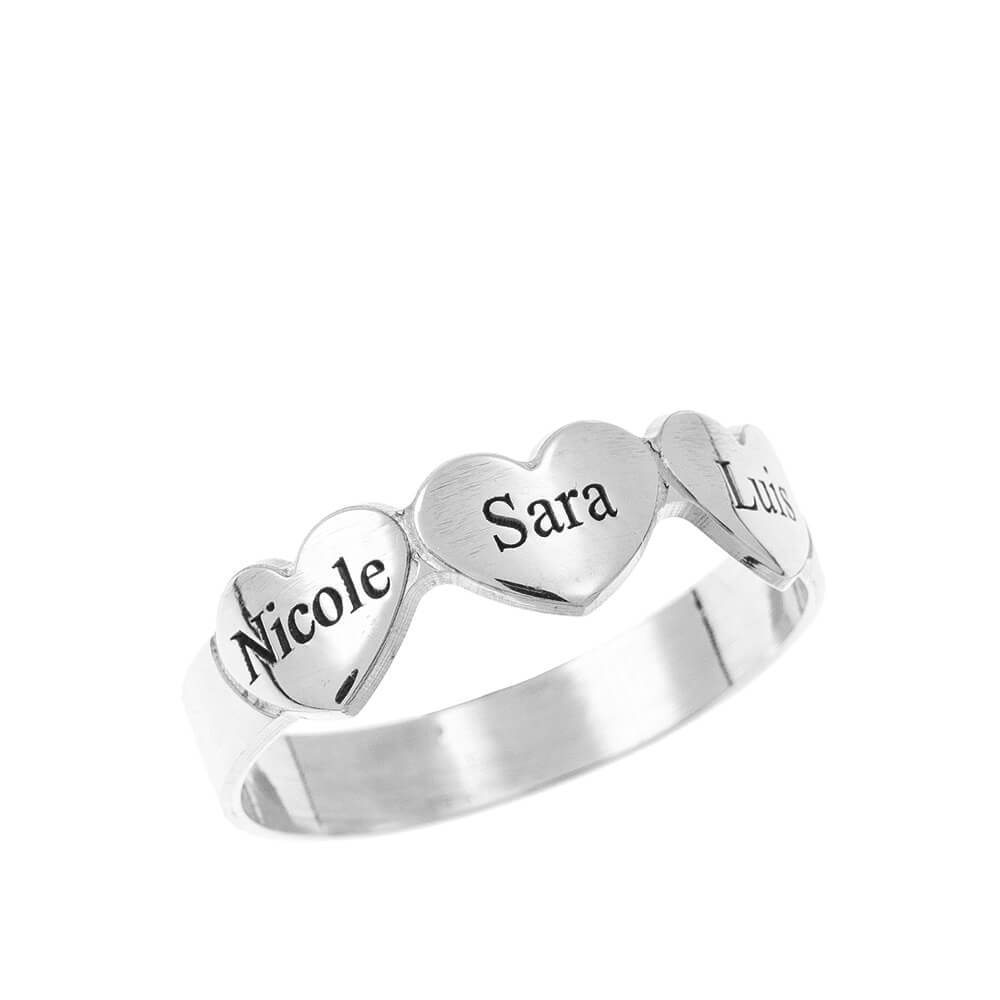 Engraved CORAZONES & Nombres Ring silver