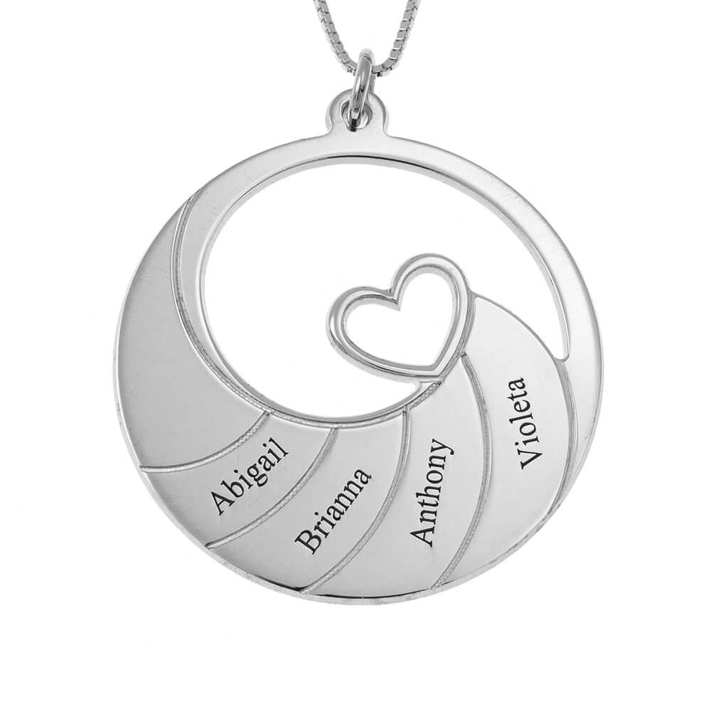 Four Nombres Spiral Collar silver
