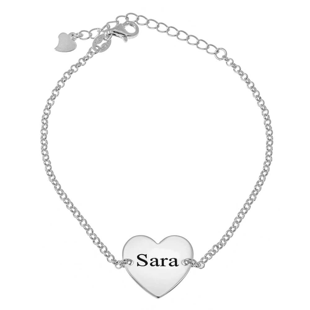 Corazón Nombre Bead Pulsera silver