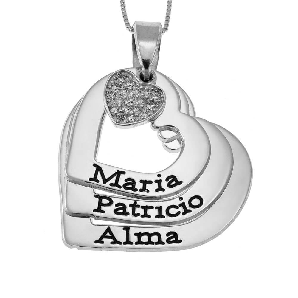 CORAZONES Nombres Collar With Inlay Corazón silver