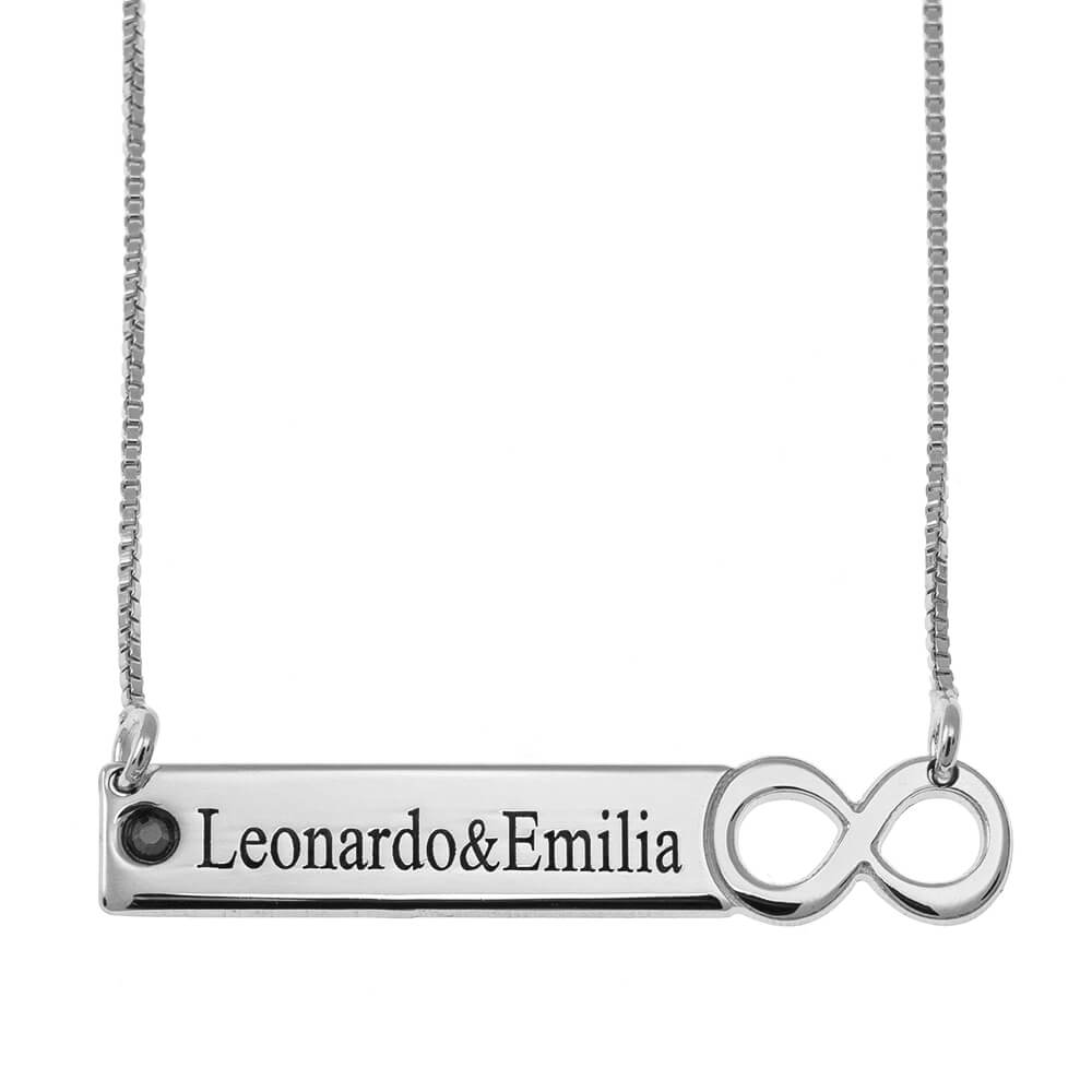 Infinity Barra Collar with engraving silver