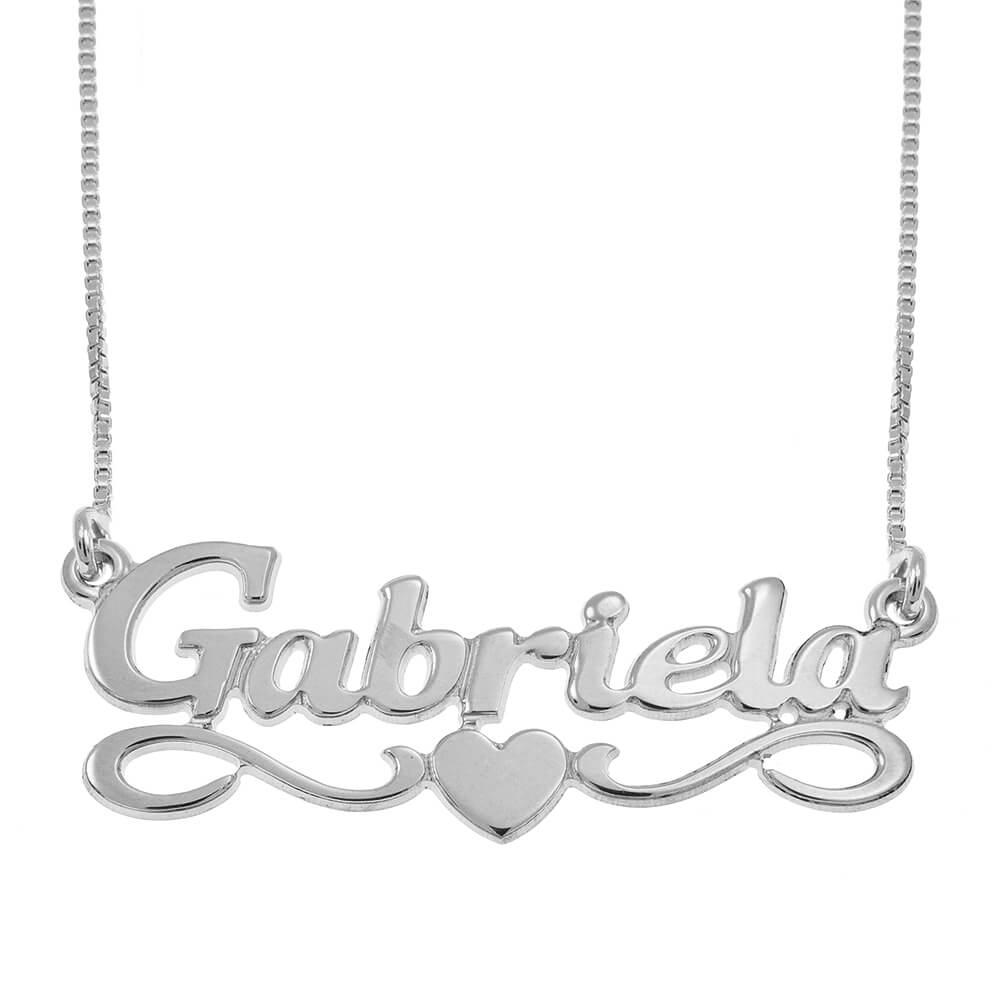 Middle Corazón Nombre Collar silver