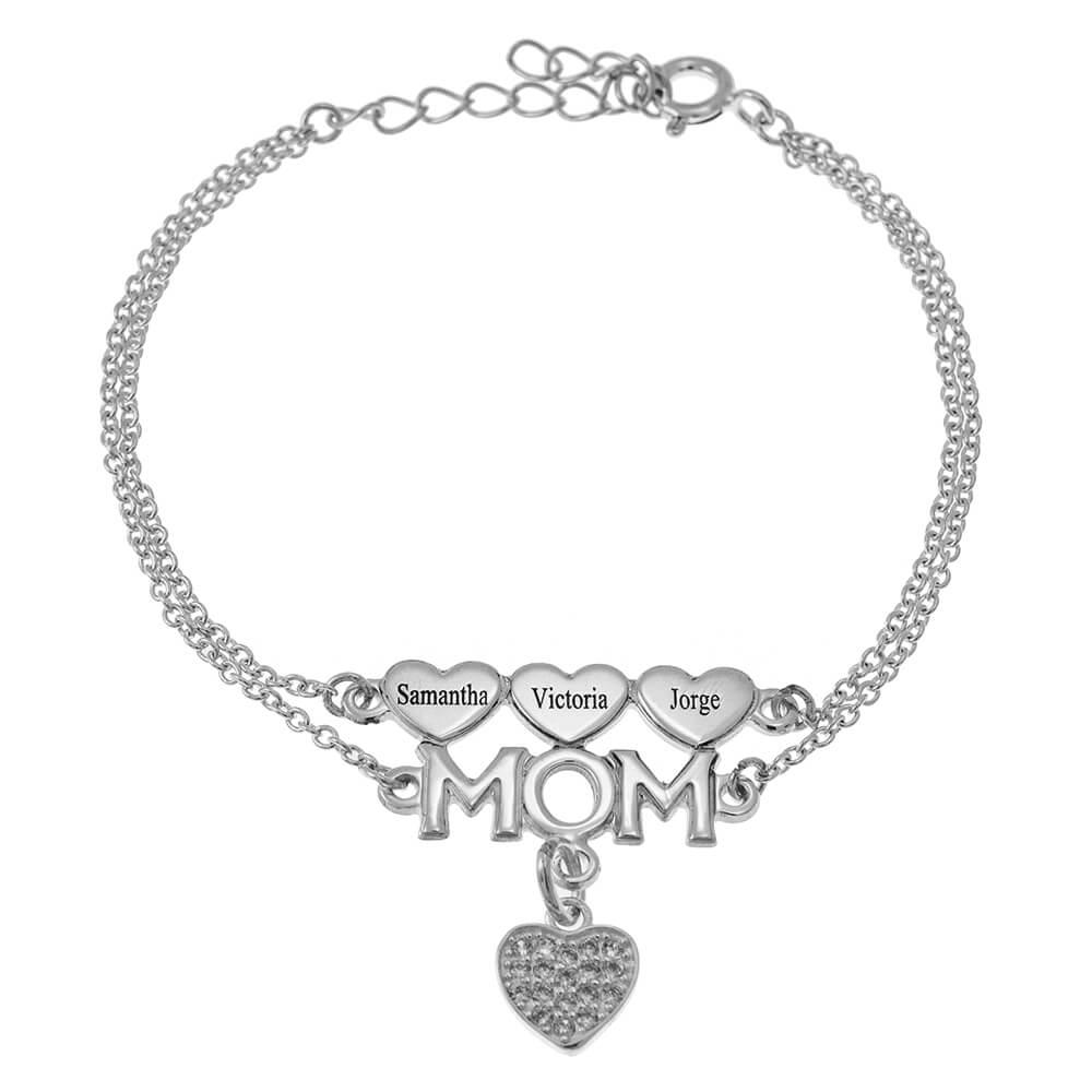 Mom Double Chain Pulsera With CORAZONES And Inlay Corazón silver