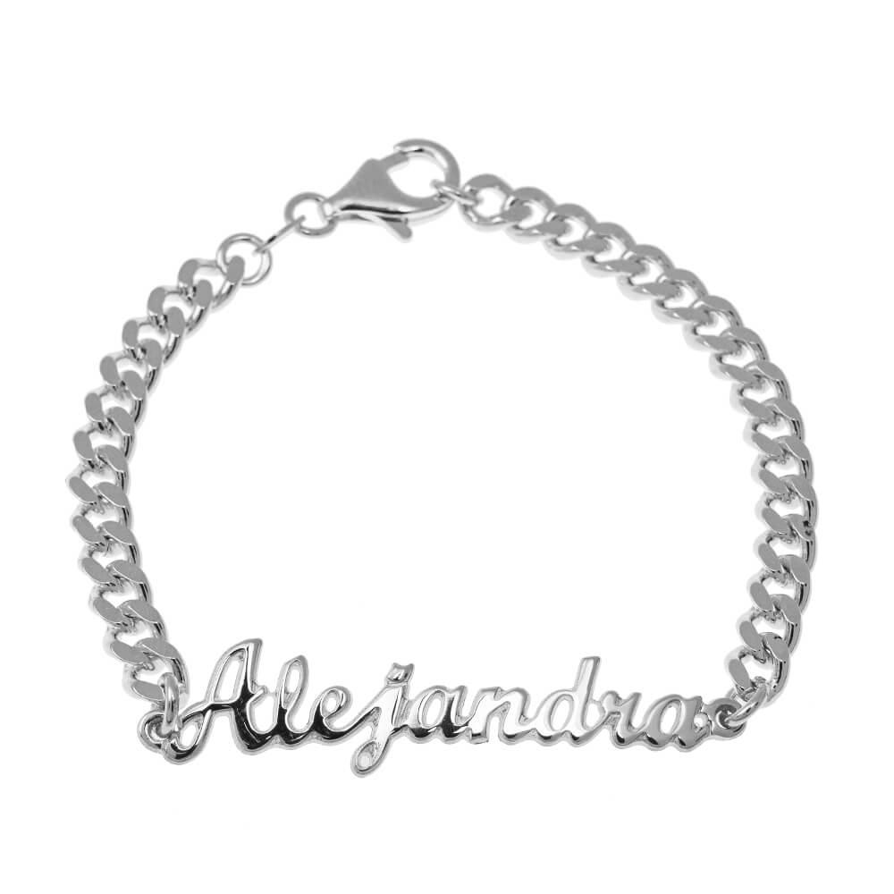 Nombre Bead Pulsera silver