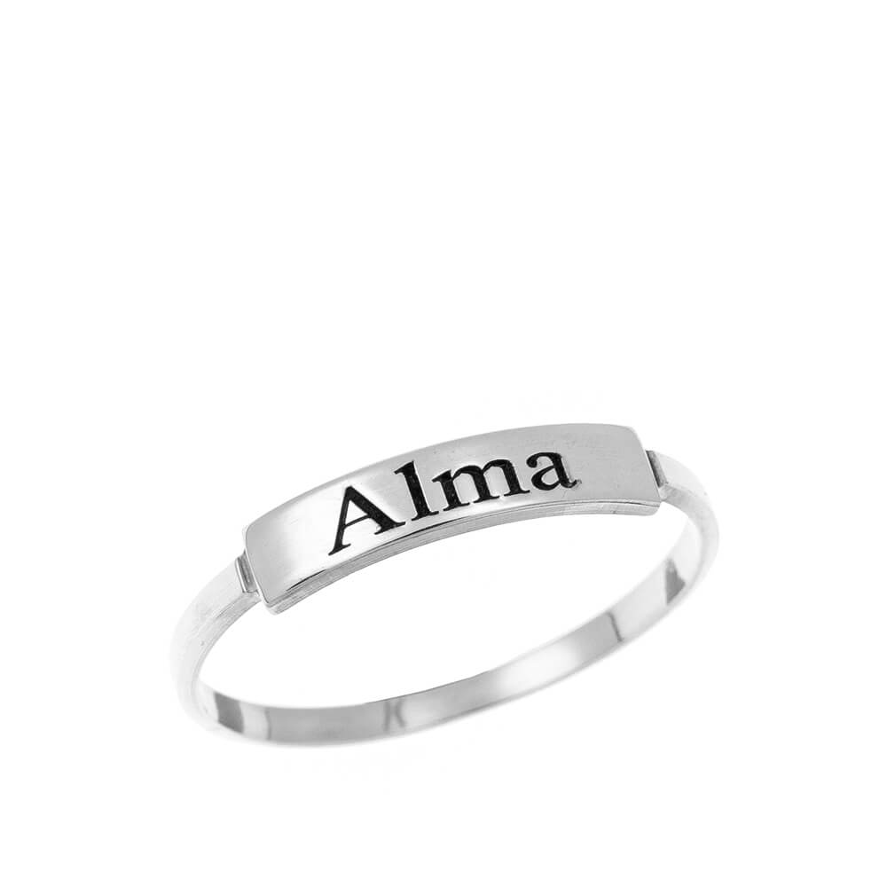 Stackable Nombre Ring silver