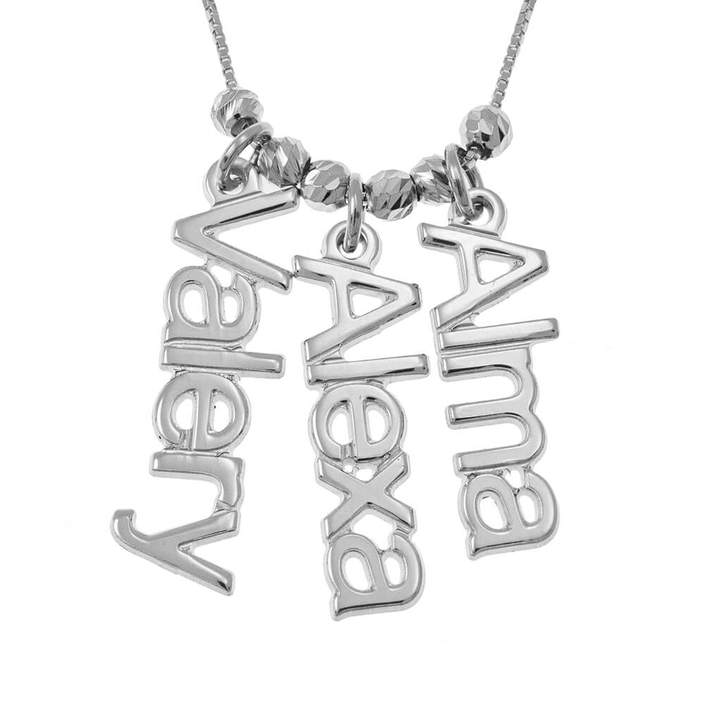 Vertical Nombres Collar silver