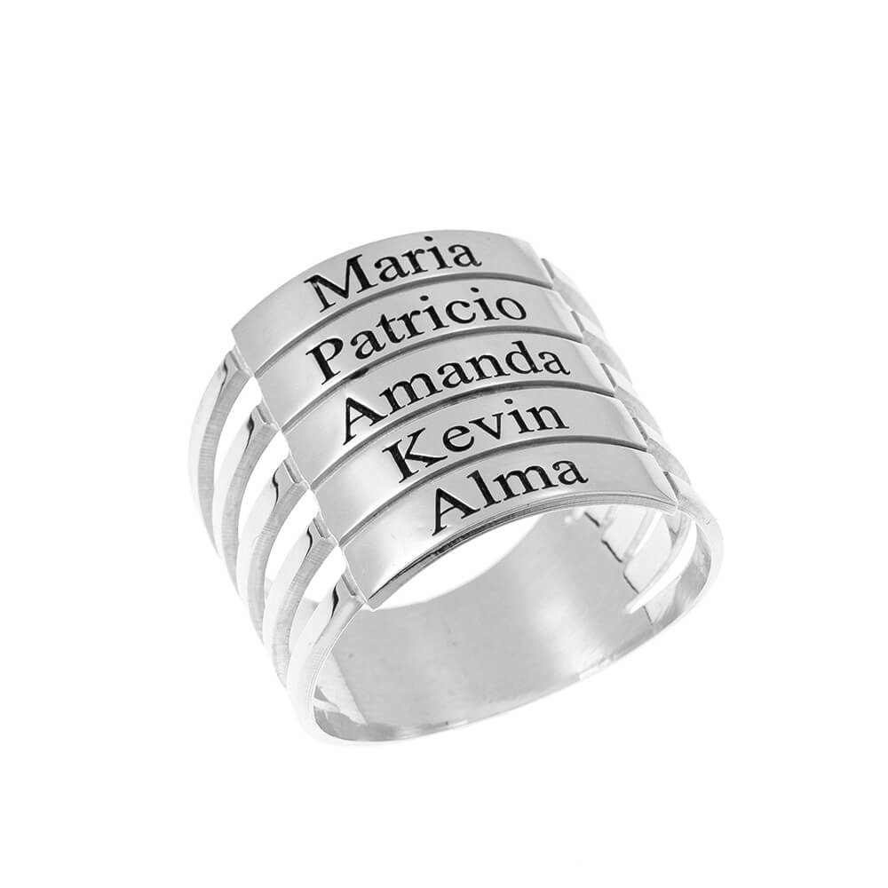 five Stackable Nombres Ring silver