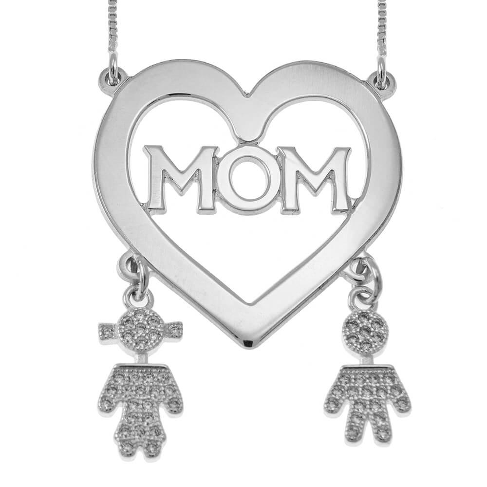 Mom Corazón Collar With Inlay Kids silver