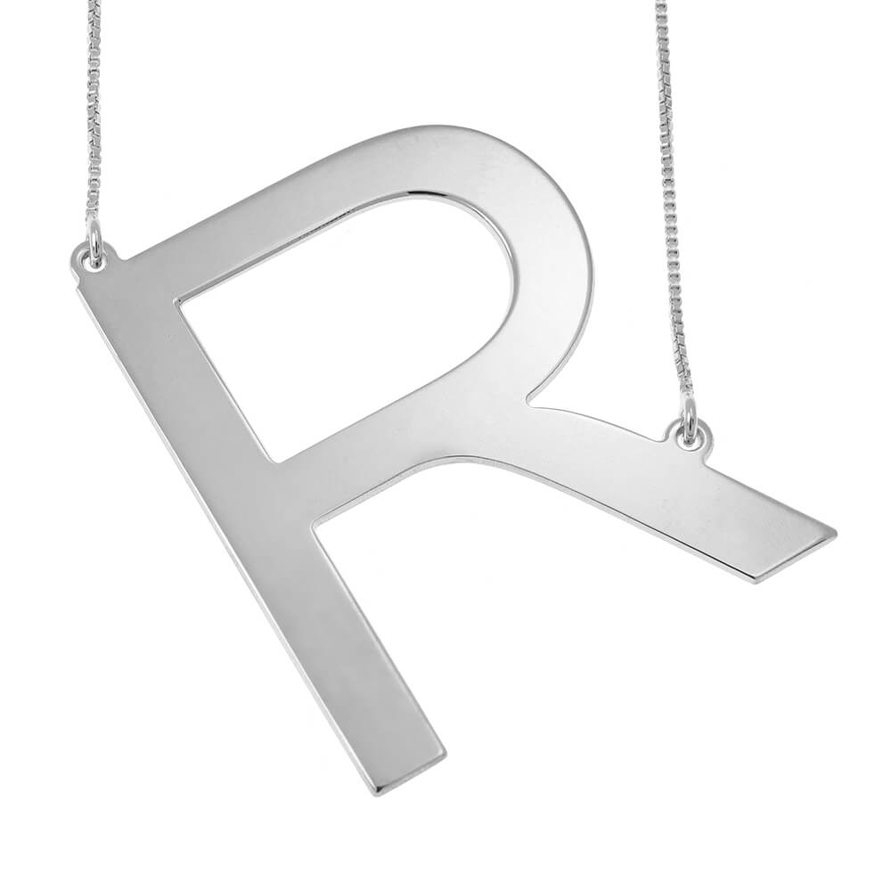 Big Initial Letter Collar silver