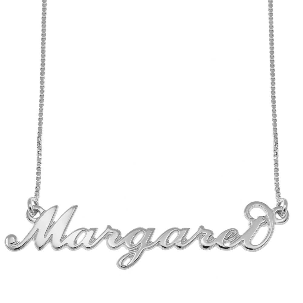 Carrie Estilo Nombre Collar silver
