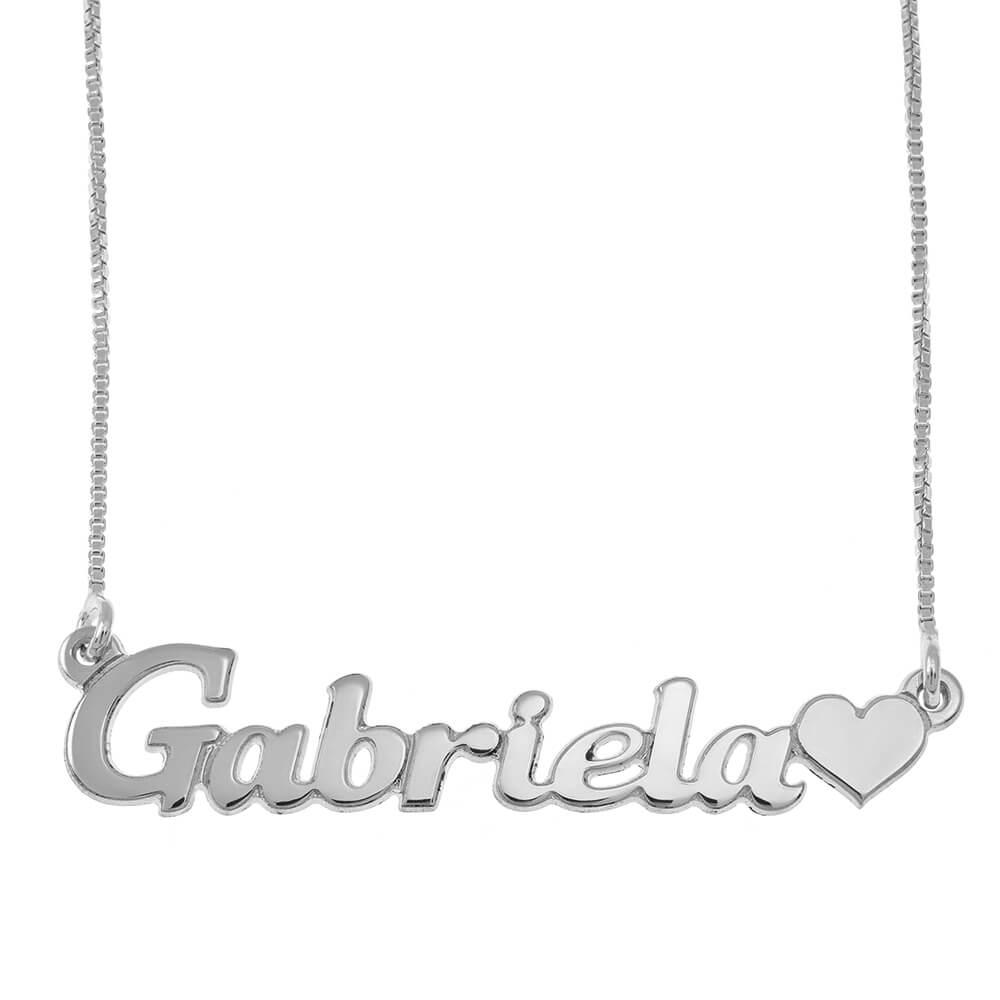 Clásico Nombre Collar With Corazón silver