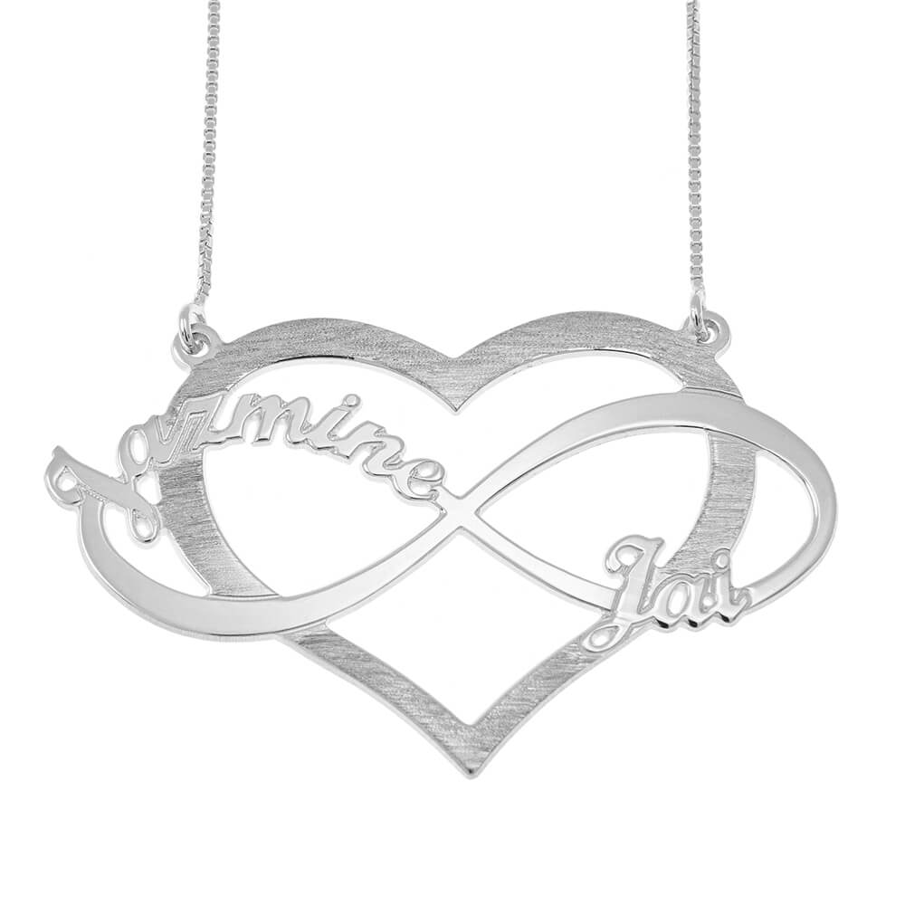 Cut Out Infinity Nombres and Corazón Collar silver