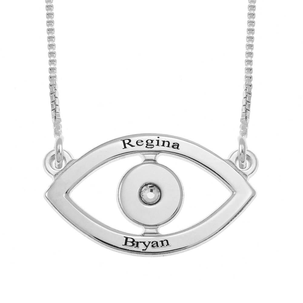 Evil Eye Two Nombres Collar silver