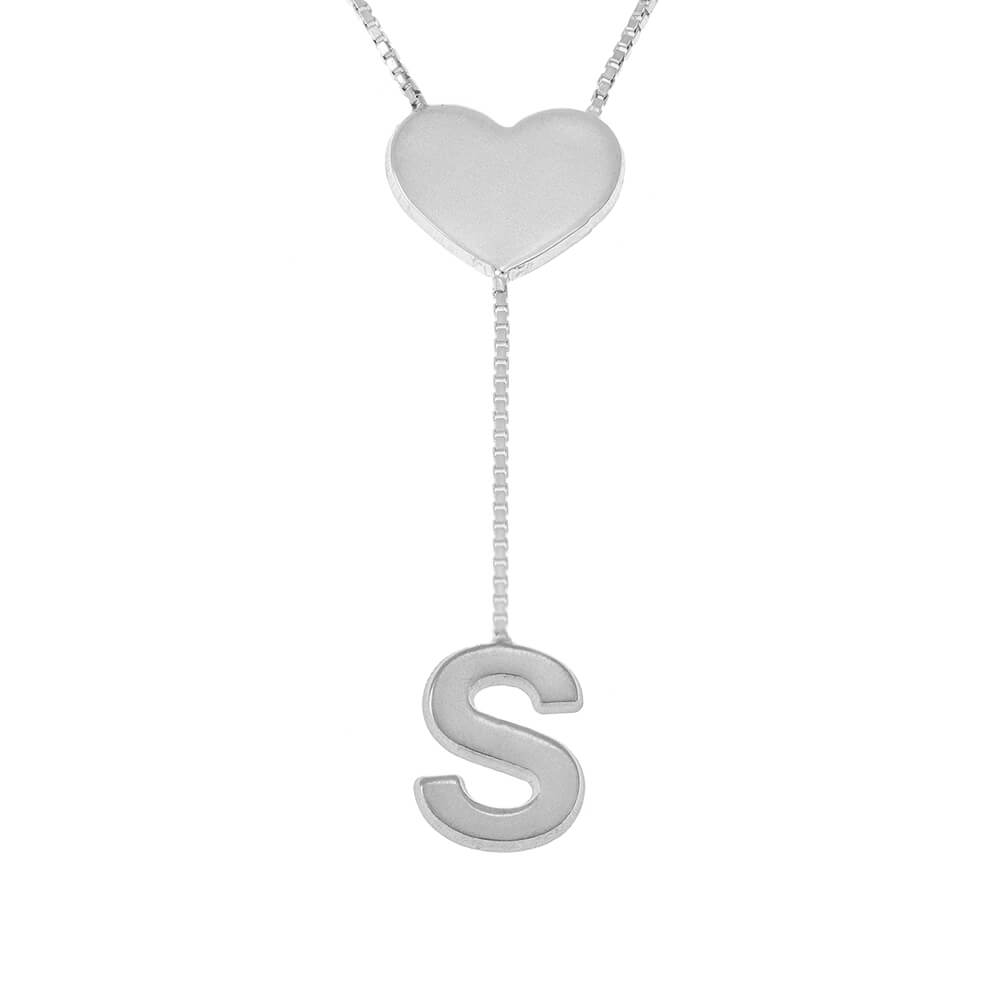Falling Letter Collar with dainty Corazón silver