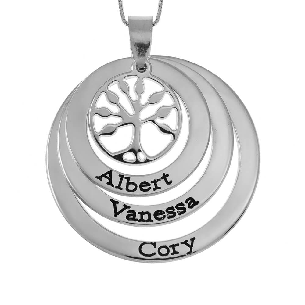 Family Layers Discoos Collar With Tree Of Life silver
