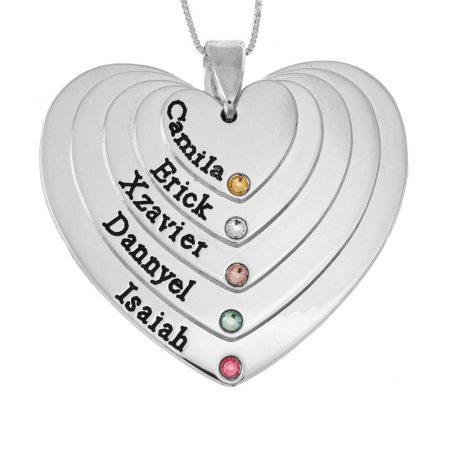 Collar de 5 tonos grabado para Mamá con Corazones y Piedras de Nacimiento