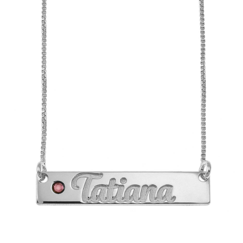 Horizontal Barra Nombre Collar With Birthstone silver
