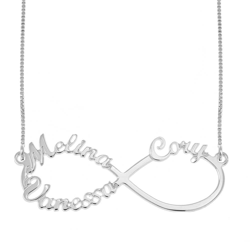 Infinity 3 Nombres Collar silver