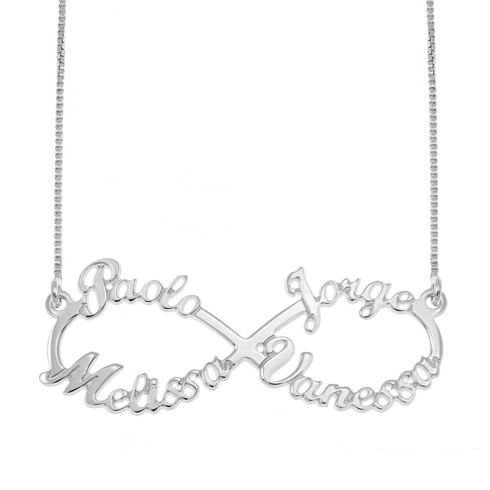 Infinity 4 Nombres Collar silver