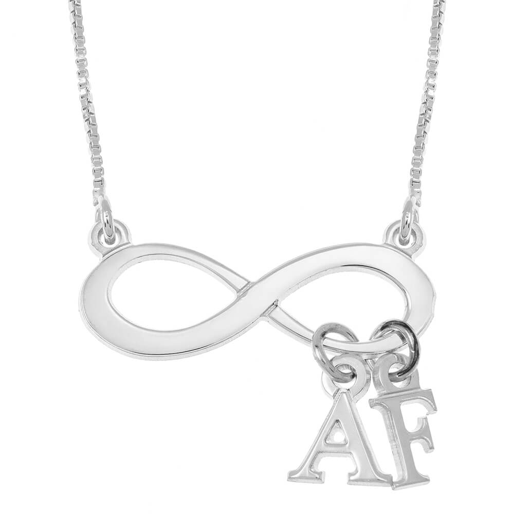 Infinity Collar With Dangling Iniciales silver