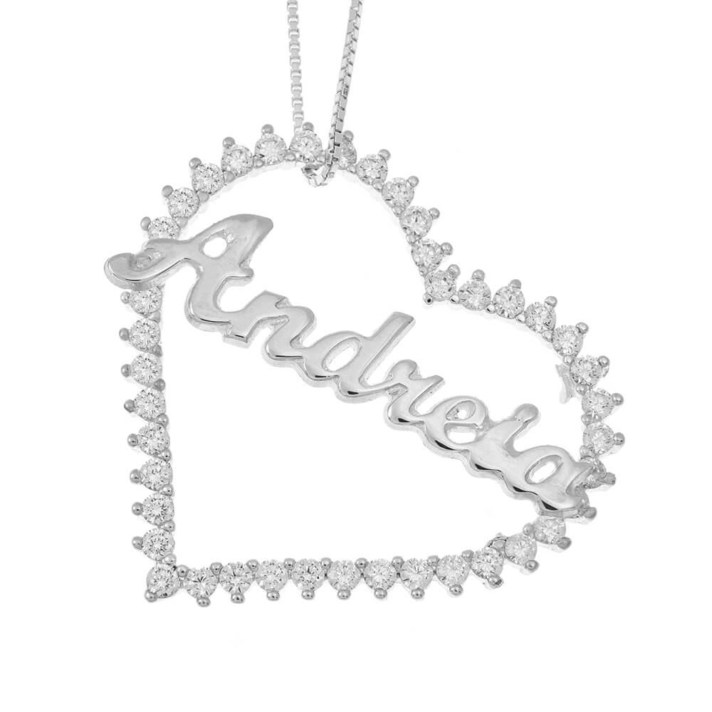 Inlay Big Corazón Nombre Collar silver