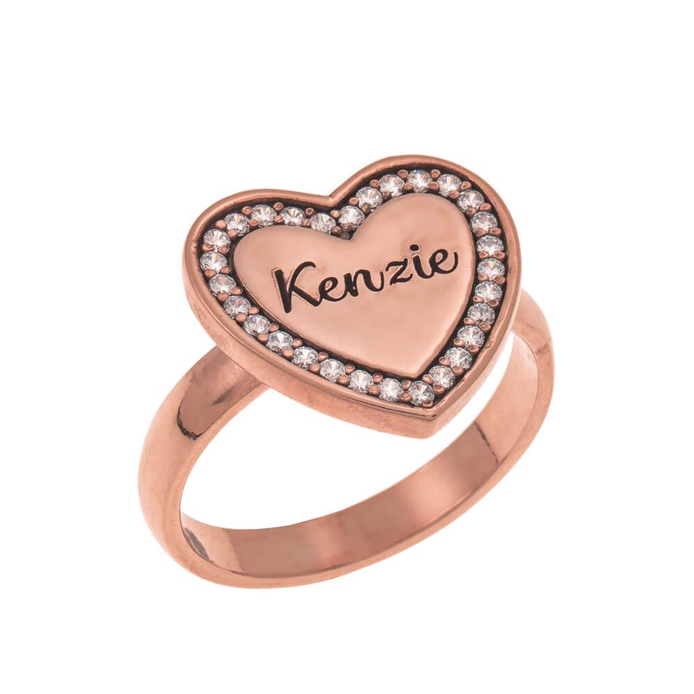 Inlay Corazón Signet Ring rose gold