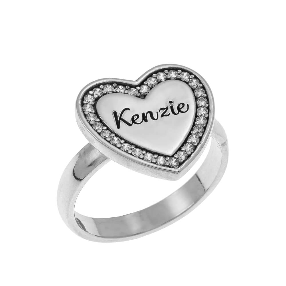 Inlay Corazón Signet Ring silver