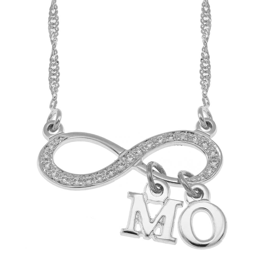 Inlay Infinity Collar With Dangling Initial silver