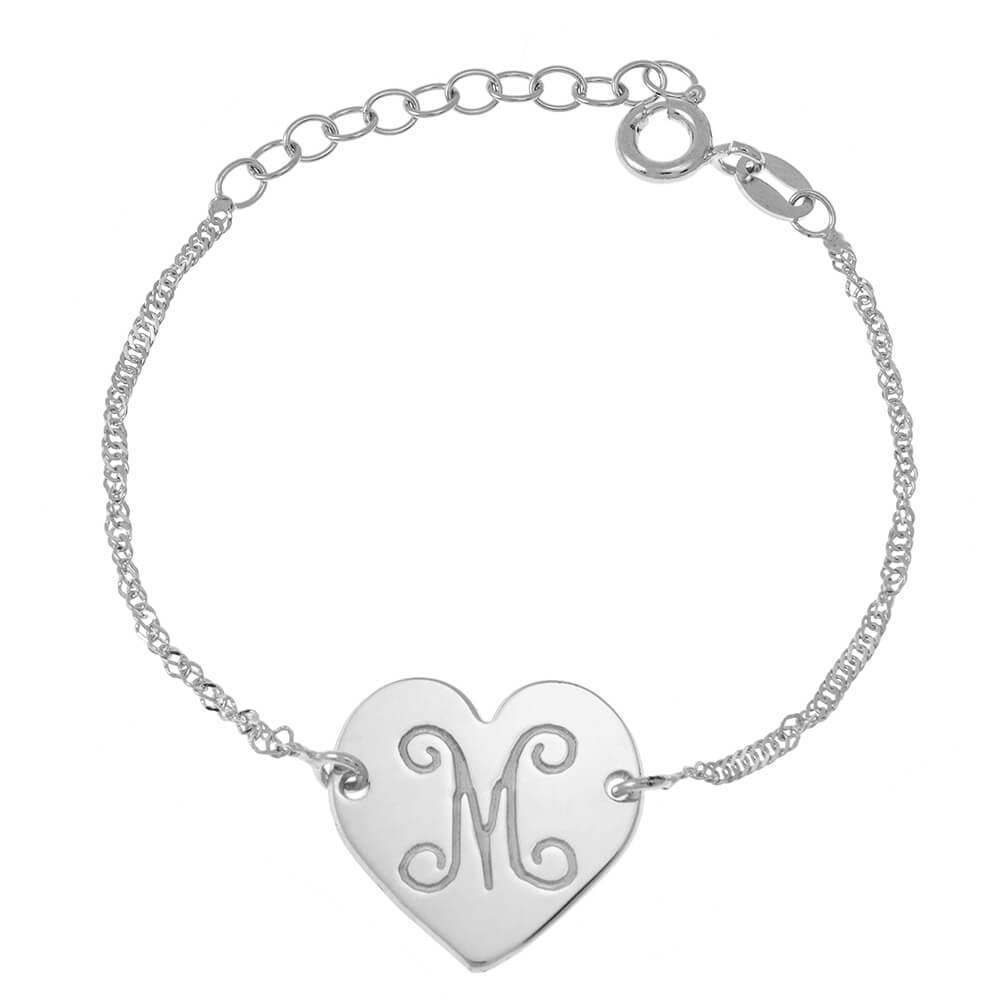 Monogram Initial Corazón Pulsera silver