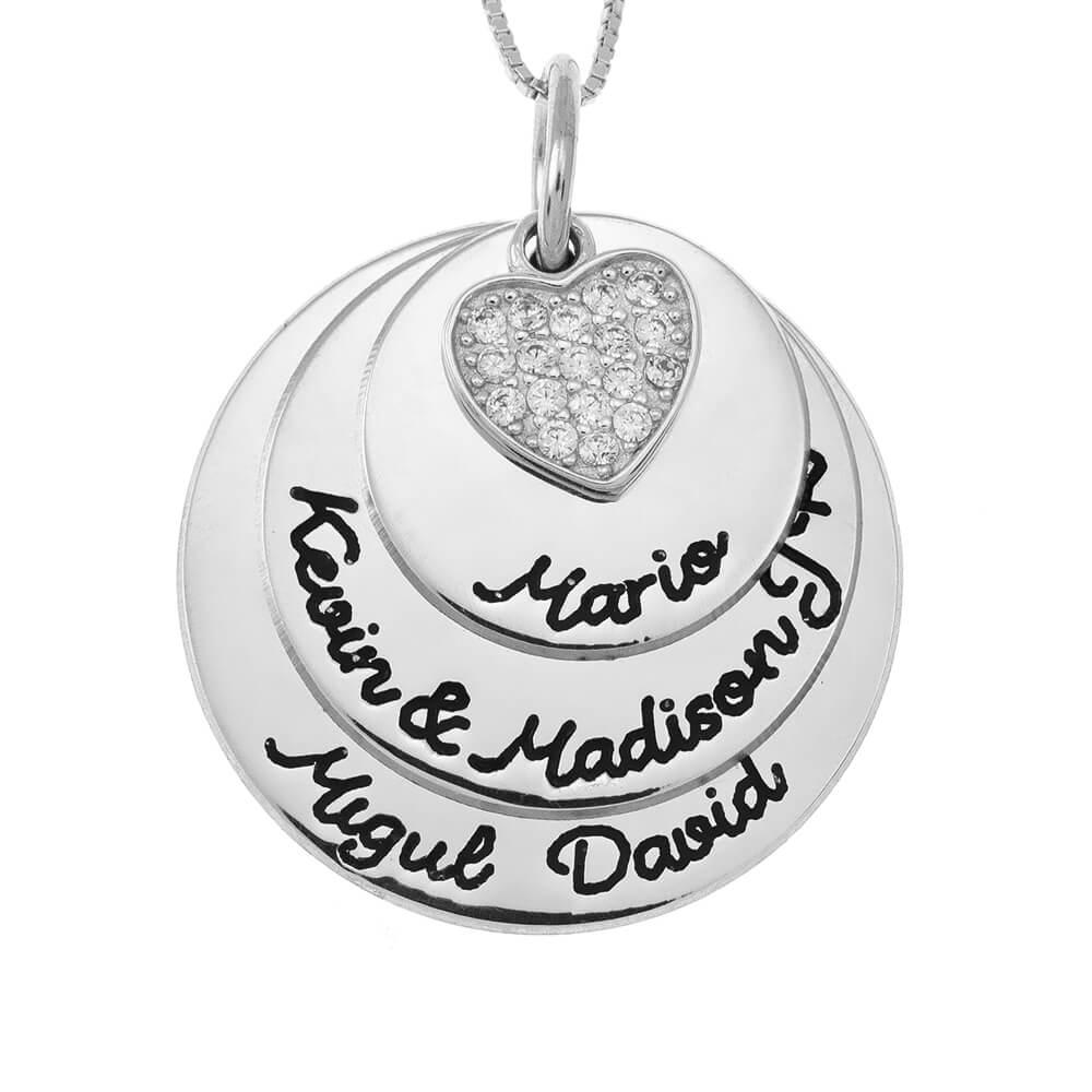 Mother Circles Collar With Inlay Corazón silver
