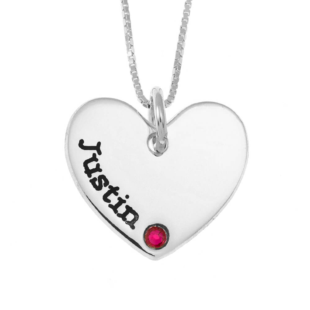 One Shade Engraved Corazón Mother Collar With Birthstone silver