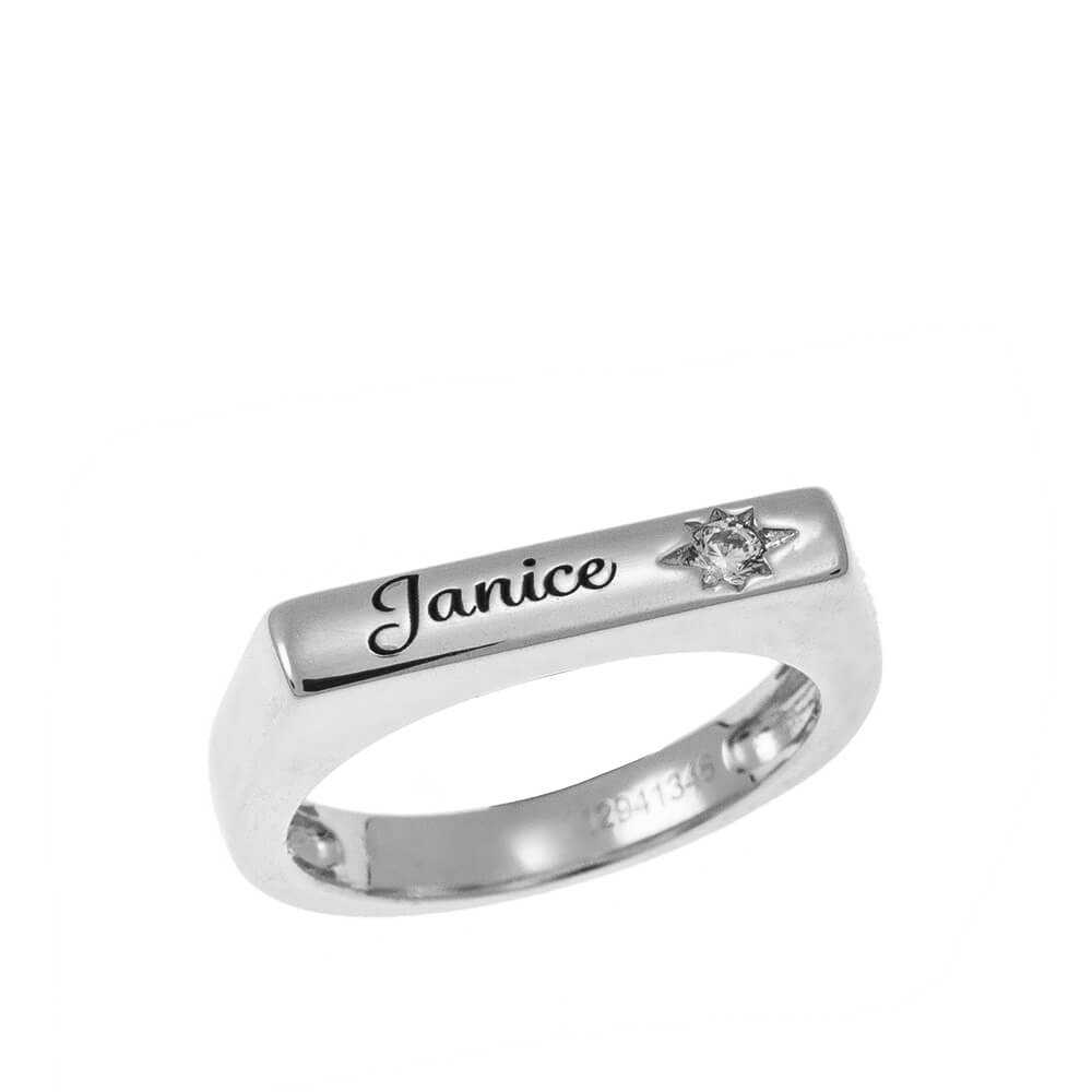 Stackable bar Nombre Ring With White Piedra silver