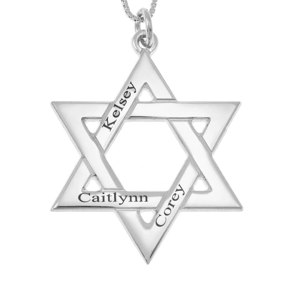 Star of David Nombres Collar silver