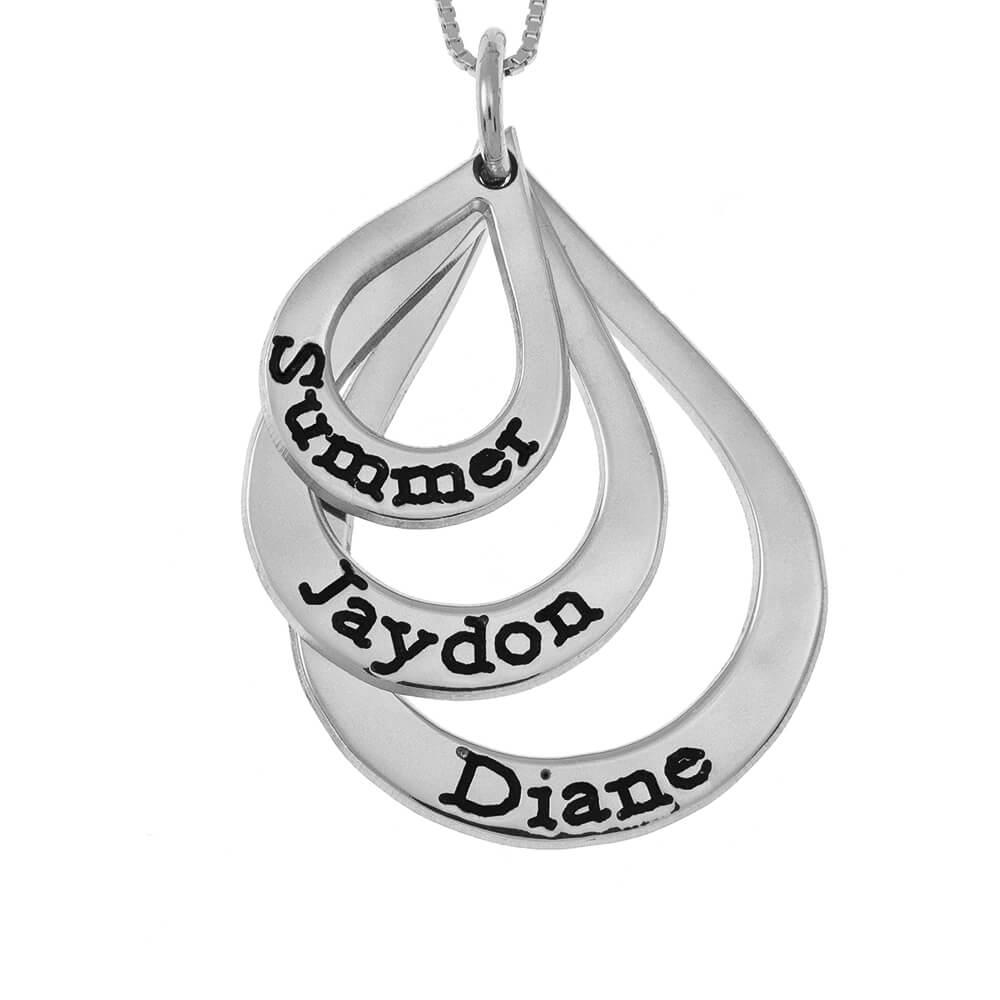 Teardrops Mother Nombre Collar silver