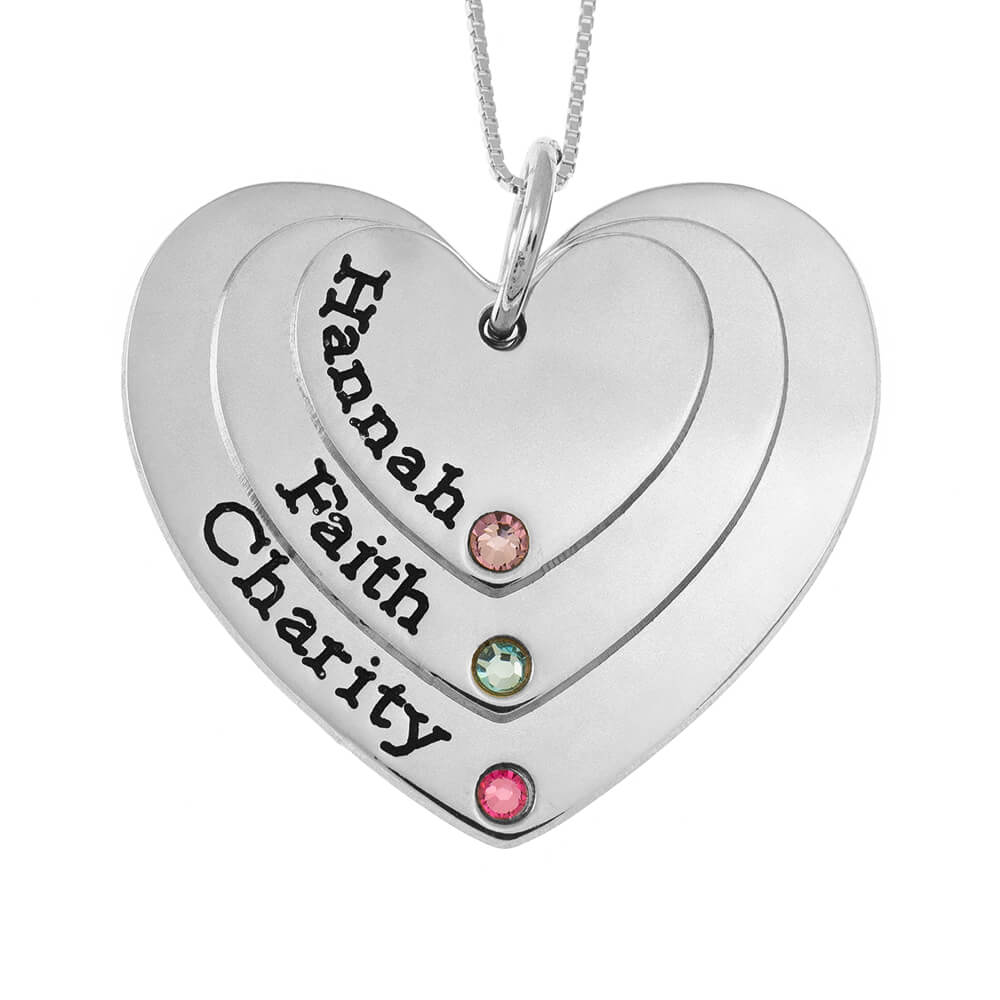 Three Shades Engraved CORAZONES Mother Collar With Birthstones silver