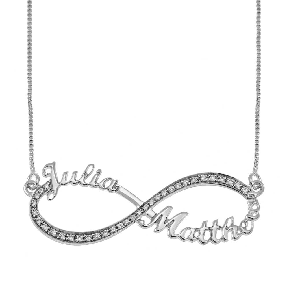 Tow Toned Engraved Infinity Collar silver