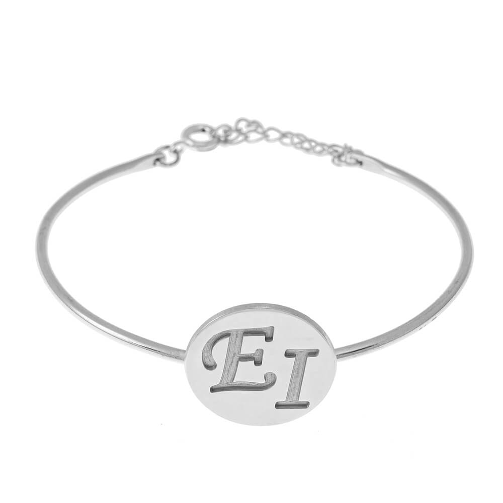 Two Iniciales Disco Bangle silver