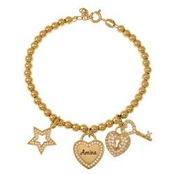 Bead Nombre Pulsera with DIJES gold
