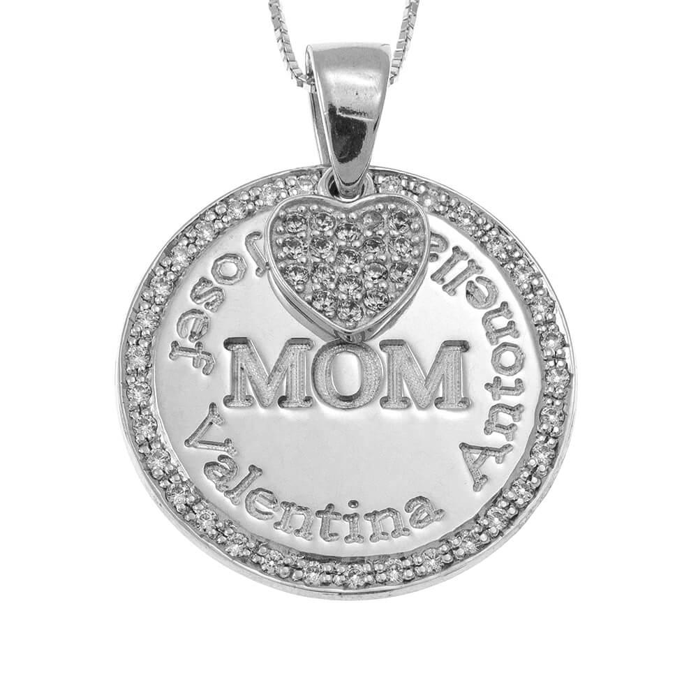 Circle Mother Collar With Inlay Corazón silver