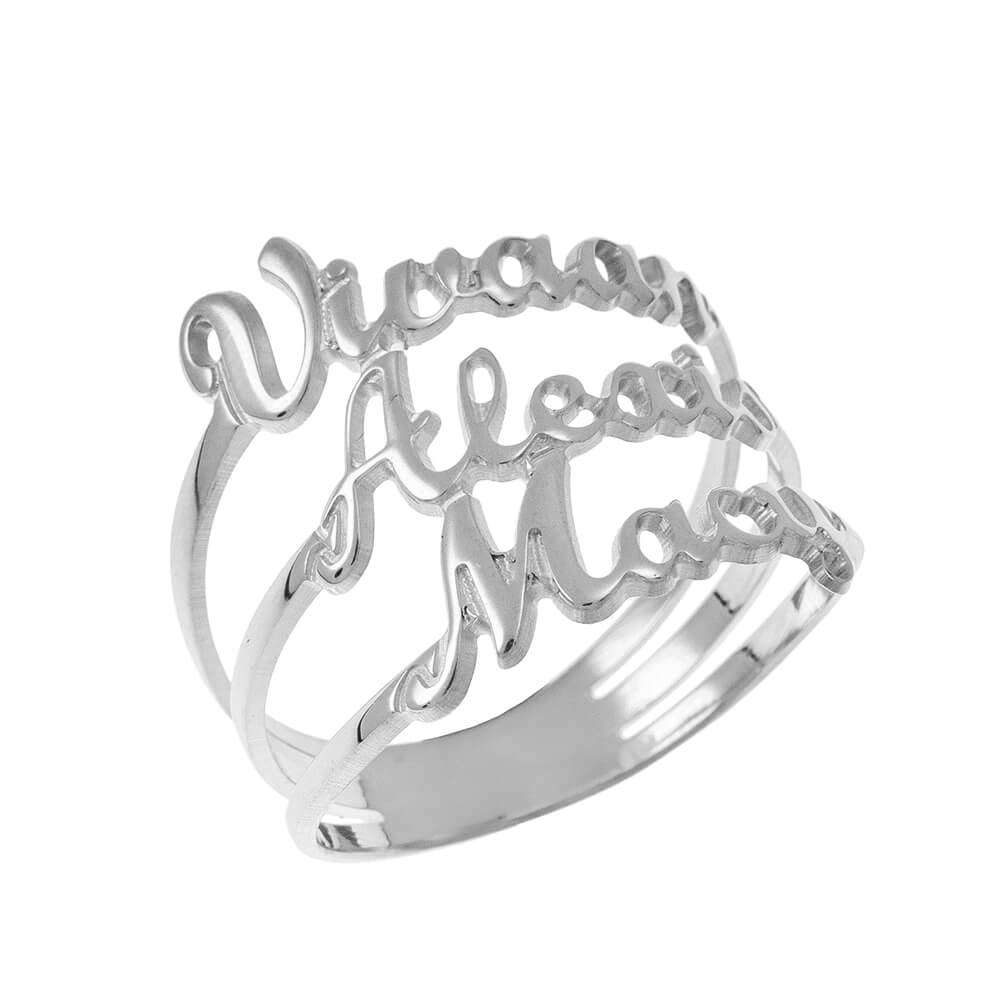 Cut Out 3 Nombres Ring silver